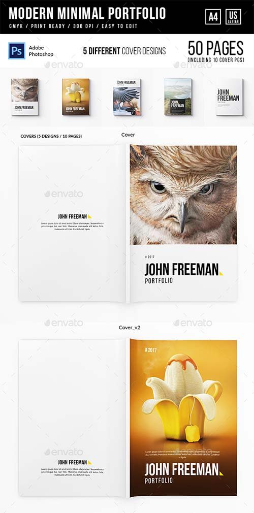 GraphicRiver Modern Minimal Portfolio - A4 and US Letter - 50 pgs