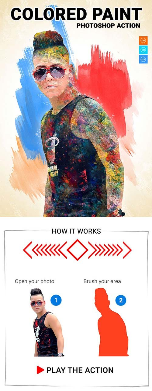 GraphicRiver Colored Paint Photoshop Action