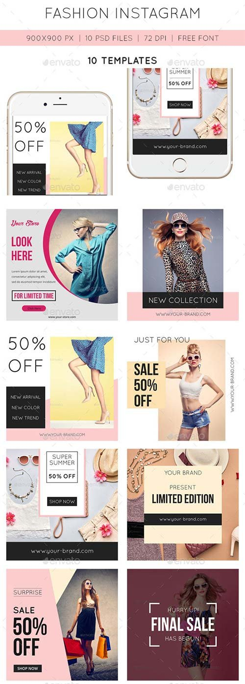 GraphicRiver 10 Fashion Instagram Templates