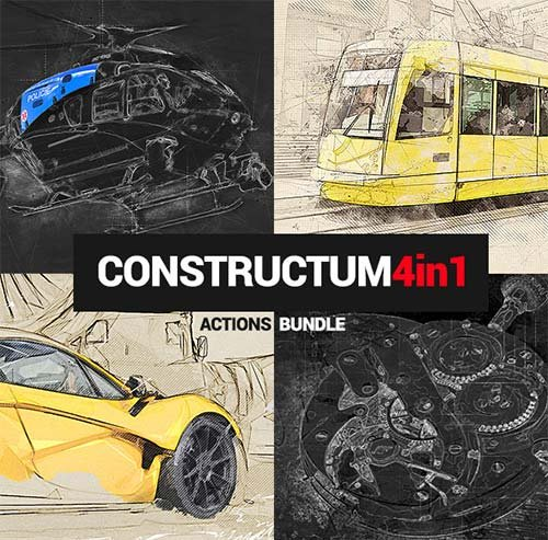 GraphicRiver Constructum - 4in1 Photoshop Actions Bundle