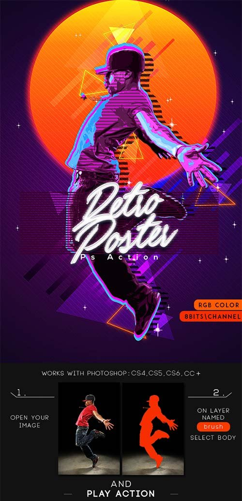 GraphicRiver 80's Retro Poster Photoshop Action