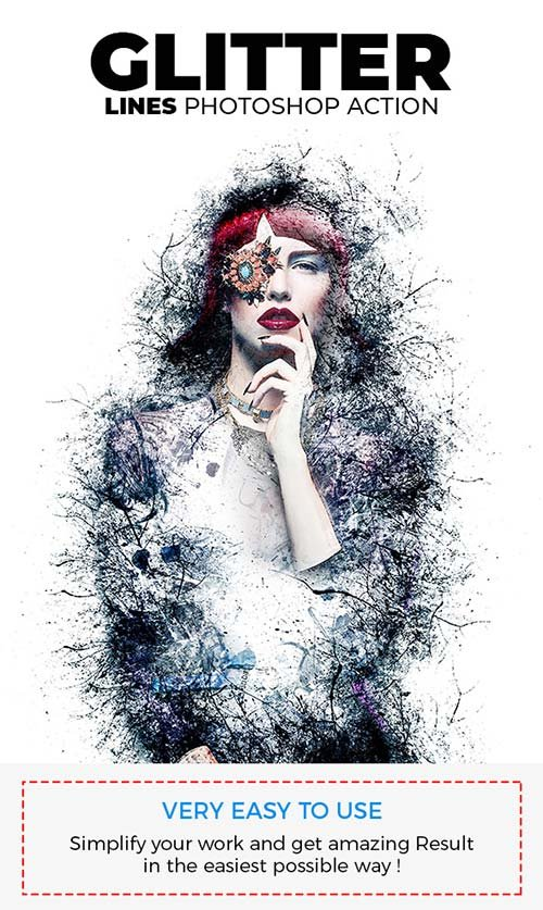 GraphicRiver Glitter Lines Photoshop Action