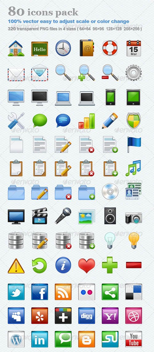 GraphicRiver 80 icons pack