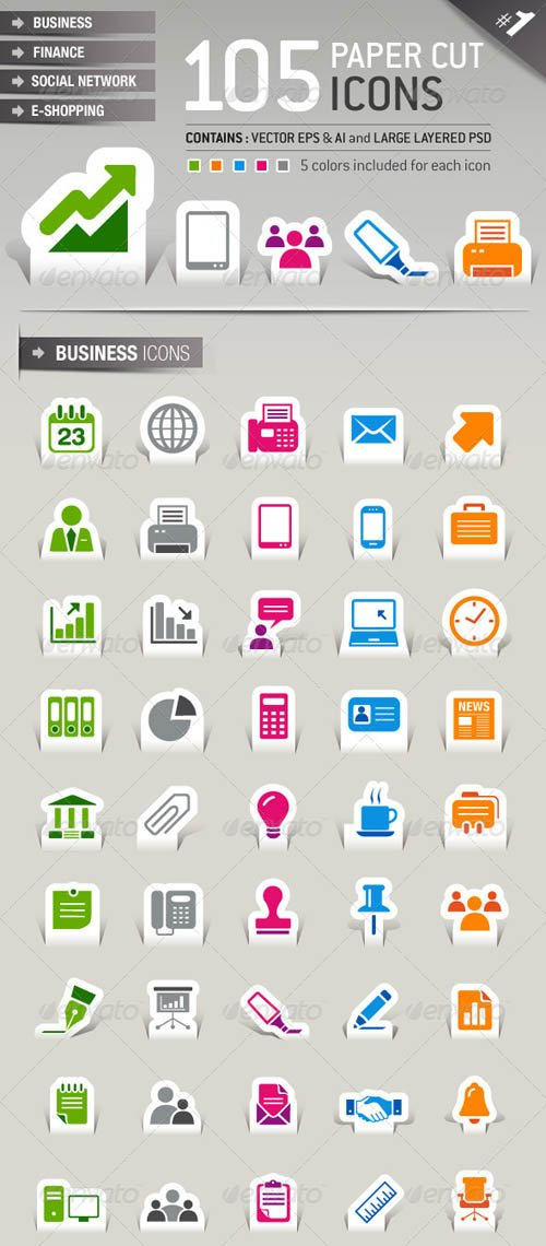 GraphicRiver 105 Papercut Icons