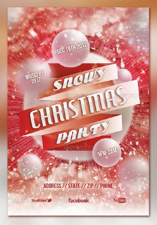 GraphicRiver Snowy Christmas Party Flyer Template