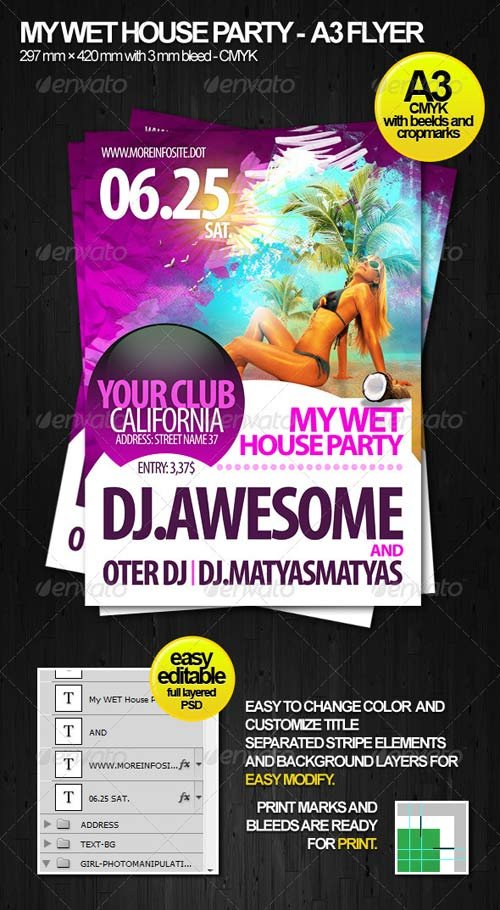 GraphicRiver Wet House Party A3 Flyer