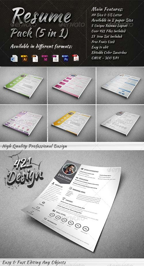 GraphicRiver Resume Pack (5 in 1)