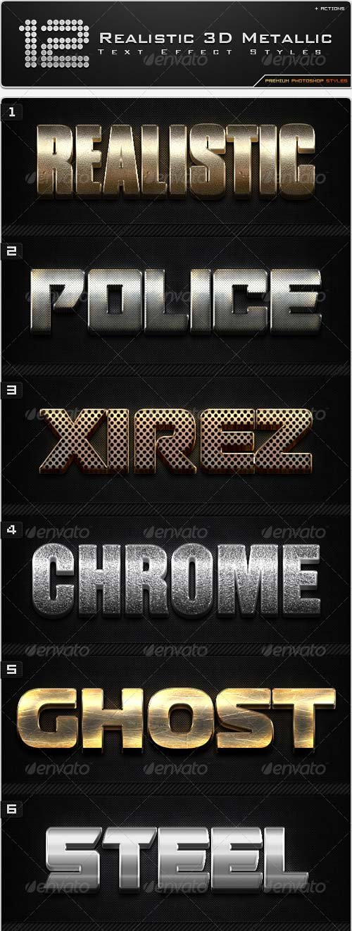 GraphicRiver 12 Realistic 3D Metallic Styles + Actions