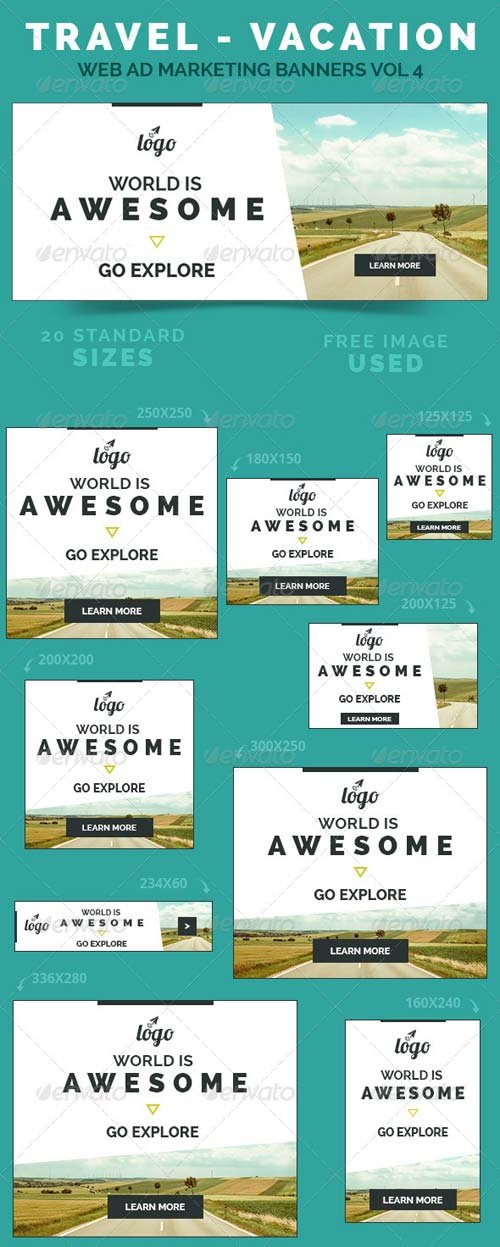 GraphicRiver Travel - Vacation Web Ad Marketing Banners Vol 4