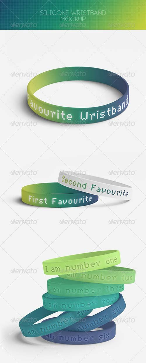 GraphicRiver Silicone Wrtistband Mock-Up