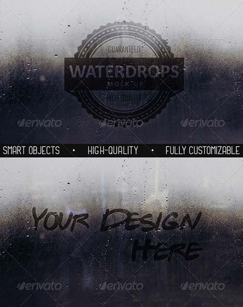 GraphicRiver Water Drops Glass Mock-Up