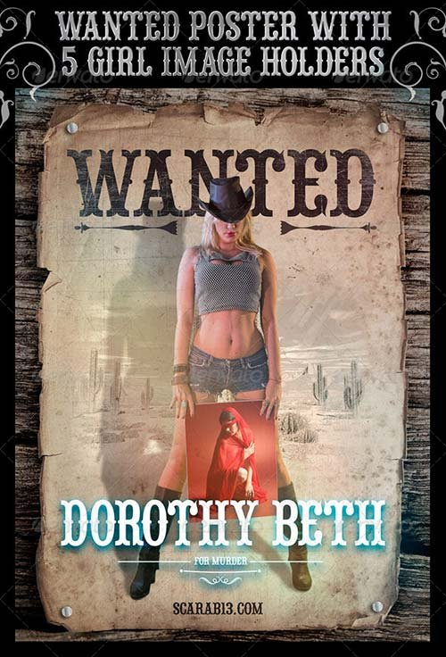 GraphicRiver Wanted Poster with 5 Cowgirl ImageHolders