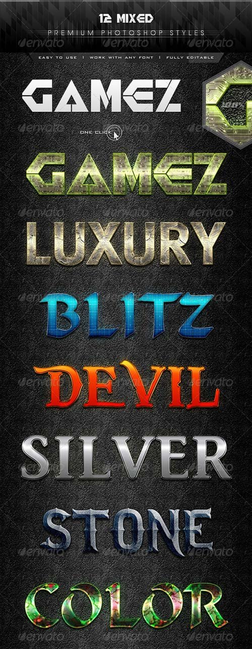 GraphicRiver 12 Mixed Text Effect Styles
