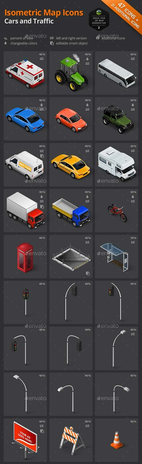 GraphicRiver Isometric Map Icons - Cars and Traffic