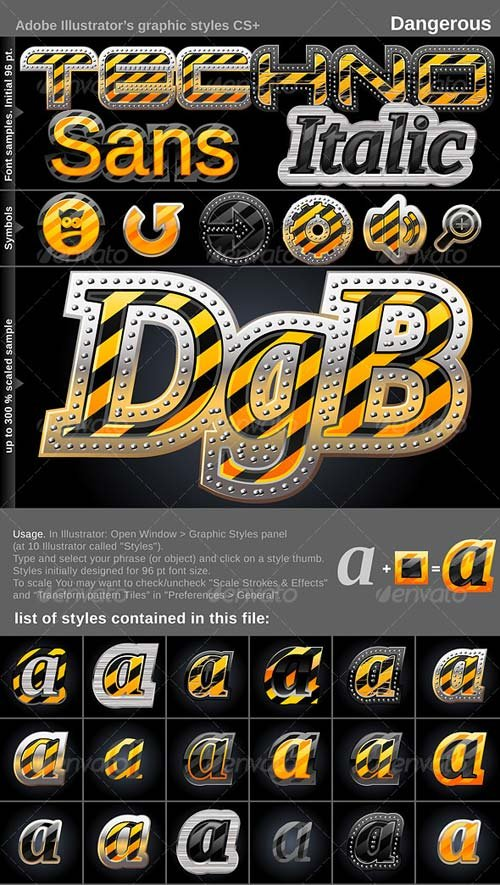 GraphicRiver Illustrator Graphic Styles. Dangerous