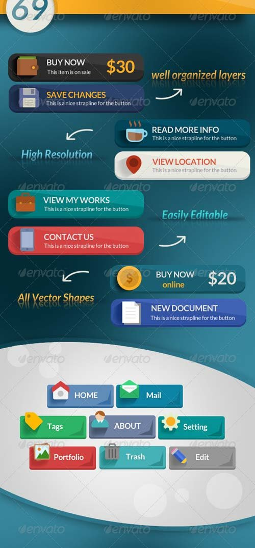 GraphicRiver 69 Flat & Modern Web Buttons