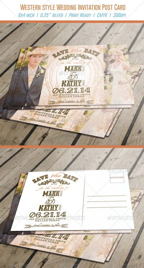 GraphicRiver Western Style Wedding Invitation Post Card