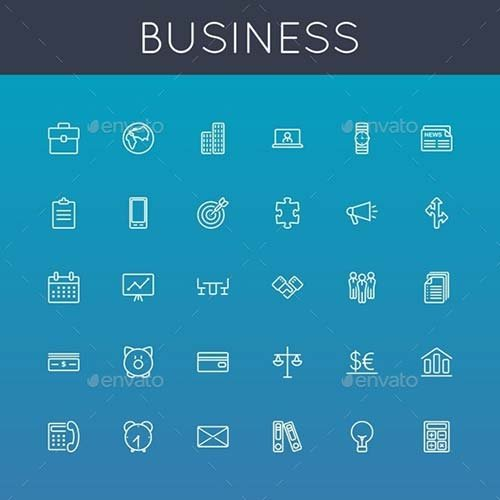 GraphicRiver Vector Business Line Icons