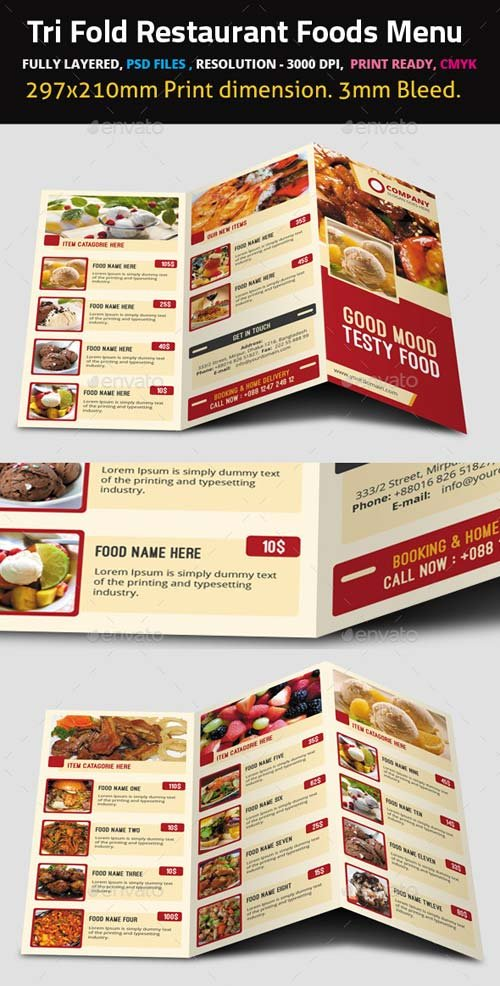 GraphicRiver Tri Fold Restaurant Foods Menu