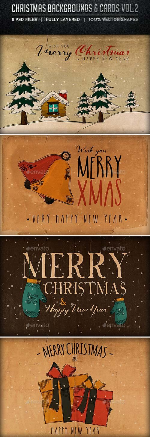 GraphicRiver Christmas Backgrounds and Cards Vol.2
