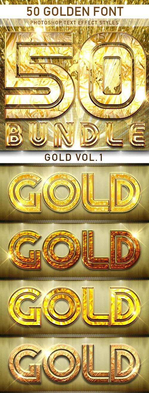 GraphicRiver 50 Golden Font_Bundle
