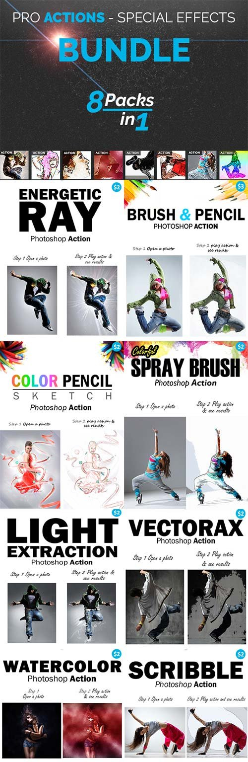 GraphicRiver PRO Actions Bundle - 8 Packs in 1