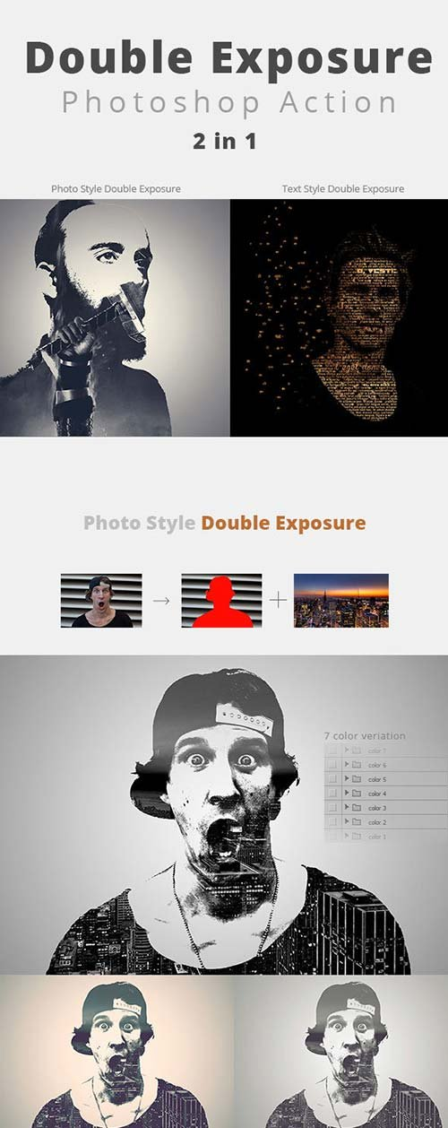 GraphicRiver Photo & Text Double Exposure Action