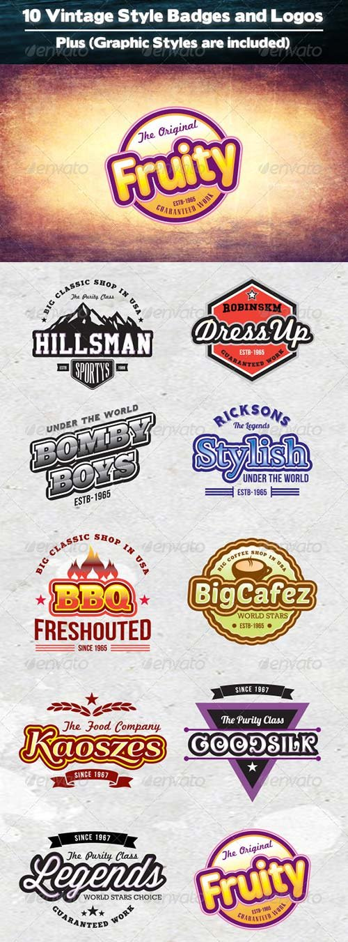 GraphicRiver 10 Vintage Badges Plus Graphic Styles