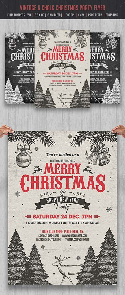 GraphicRiver Vintage & Chlak Christmas Party Flyer
