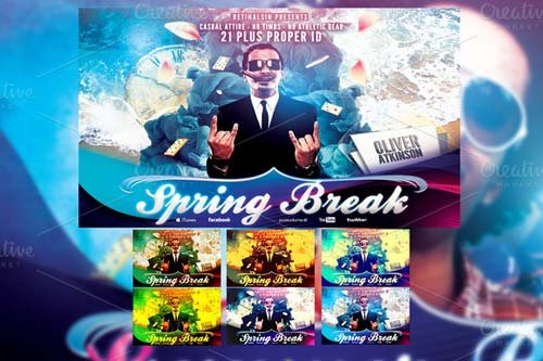 CreativeMarket Spring Break Flyer Template