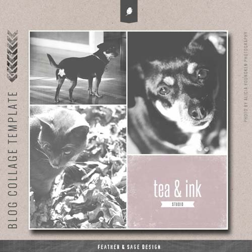 CreativeMarket Tea & Ink Photo Collage Template