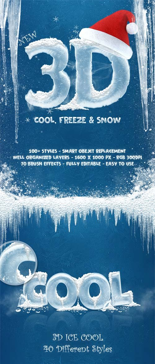 GraphicRiver New 3D Ice Cool, Freeze & Snow Text Effects